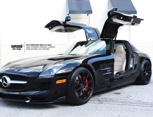 2012 MERCEDES BENZ SLS AMG H&R LOWERING SPRINGS, RW CARBON FRONT LIP AND DIFFUSER