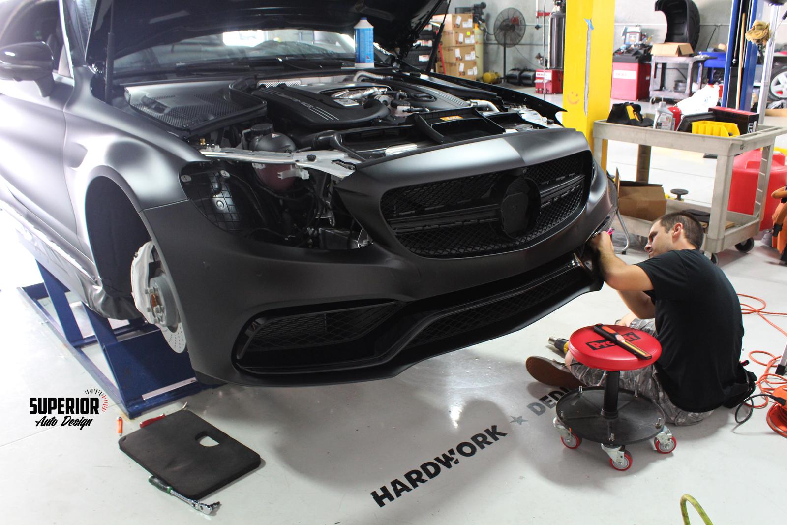 c63 satin black wrap superior auto design 14