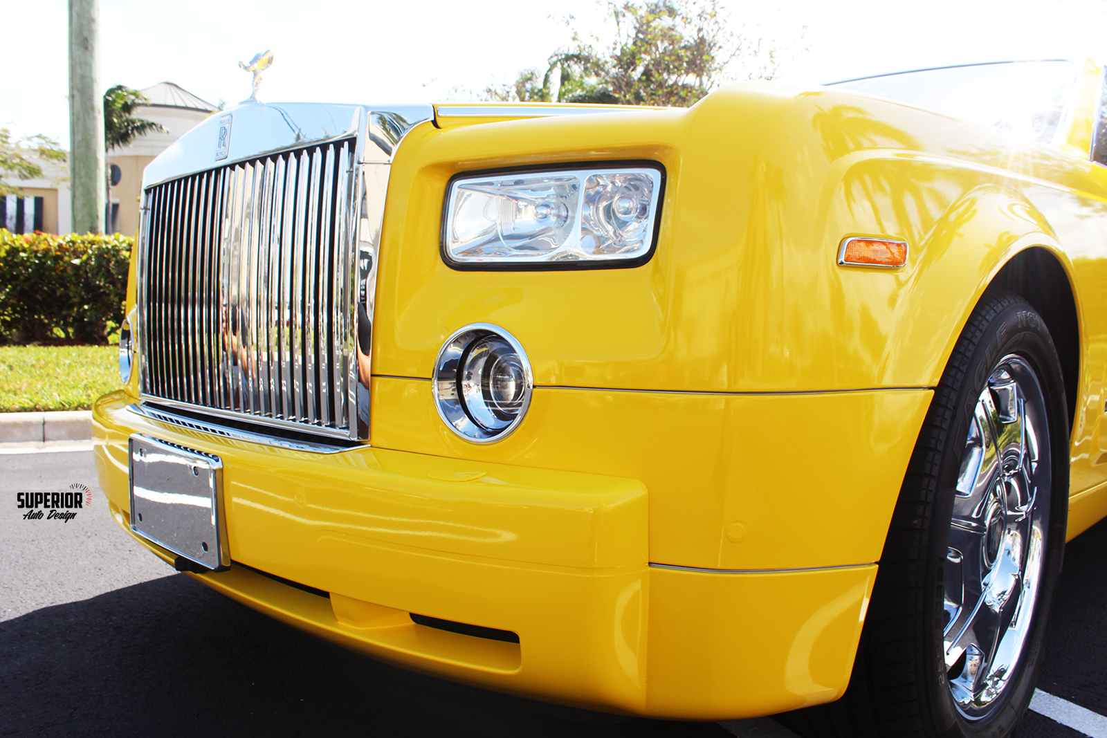 rolls royce phantom car wrap yellow superior auto design 1