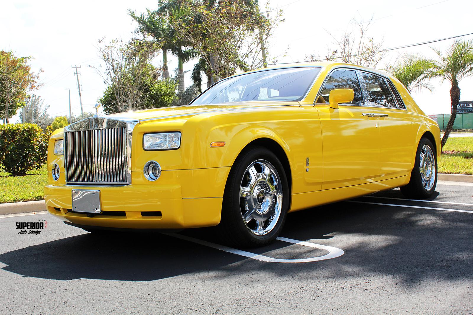 rolls royce phantom car wrap yellow superior auto design 2