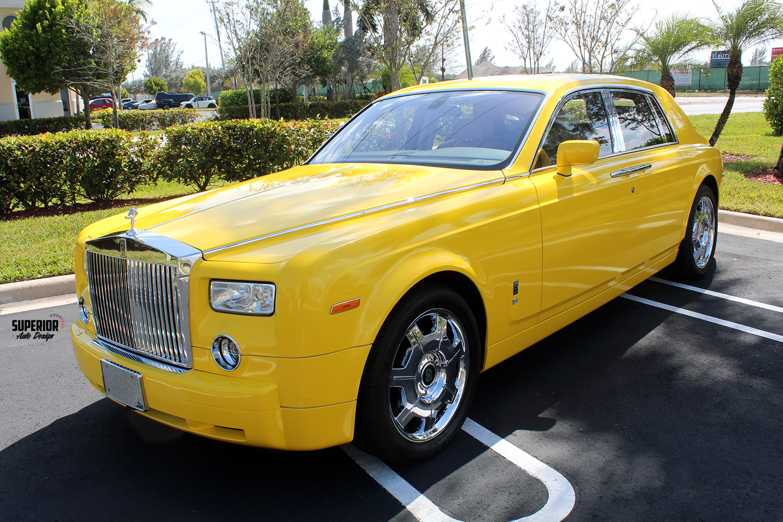 rolls royce phantom car wrap yellow superior auto design 3