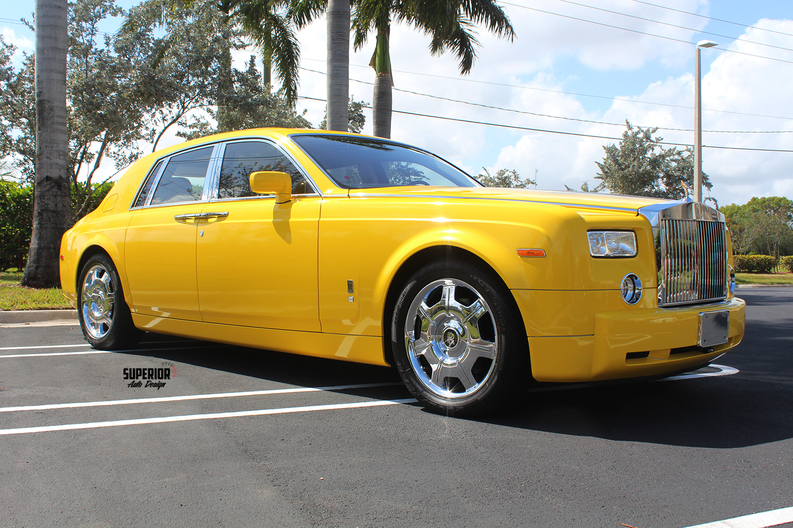 rolls royce phantom car wrap yellow superior auto design 5