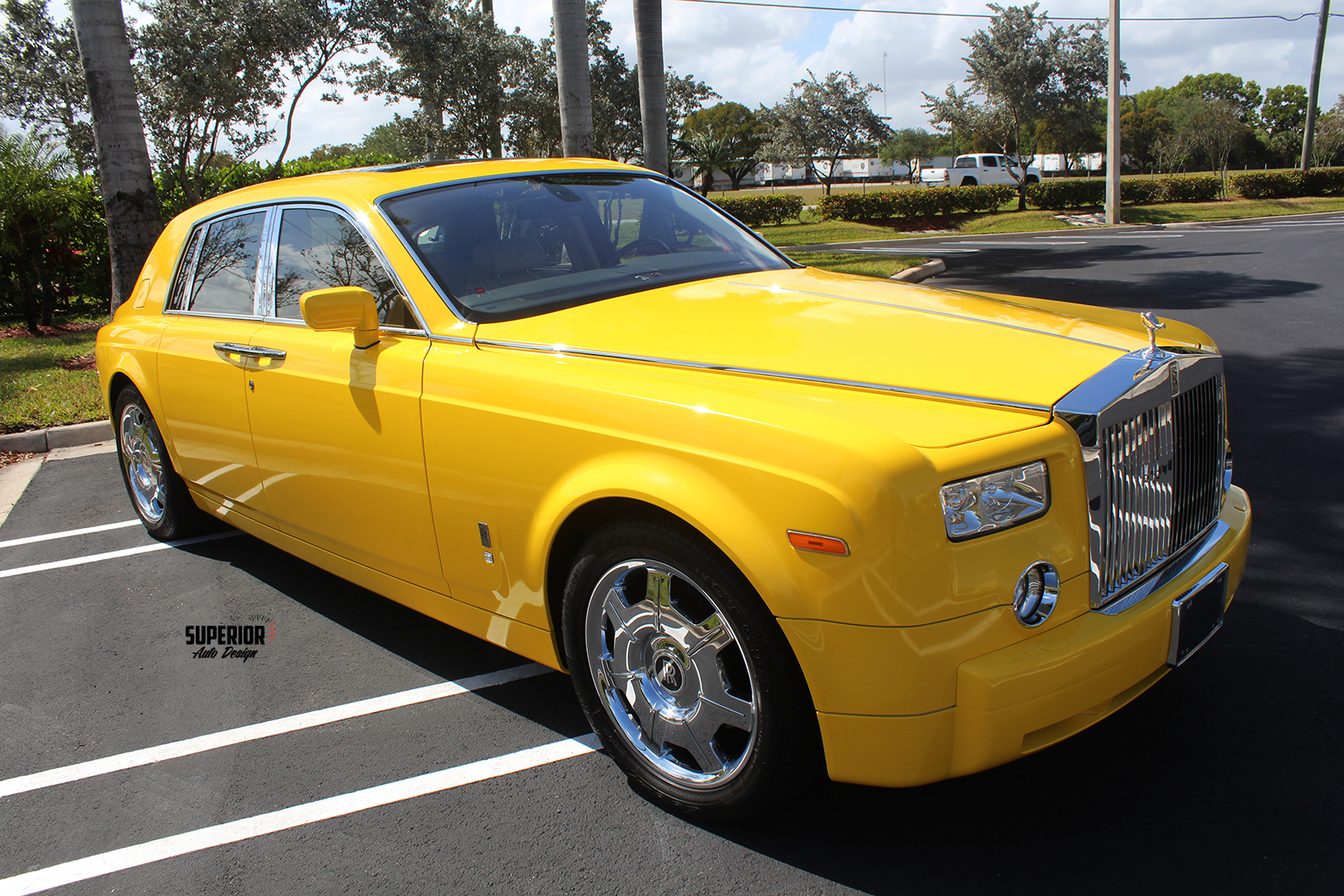 rolls royce phantom car wrap yellow superior auto design 6