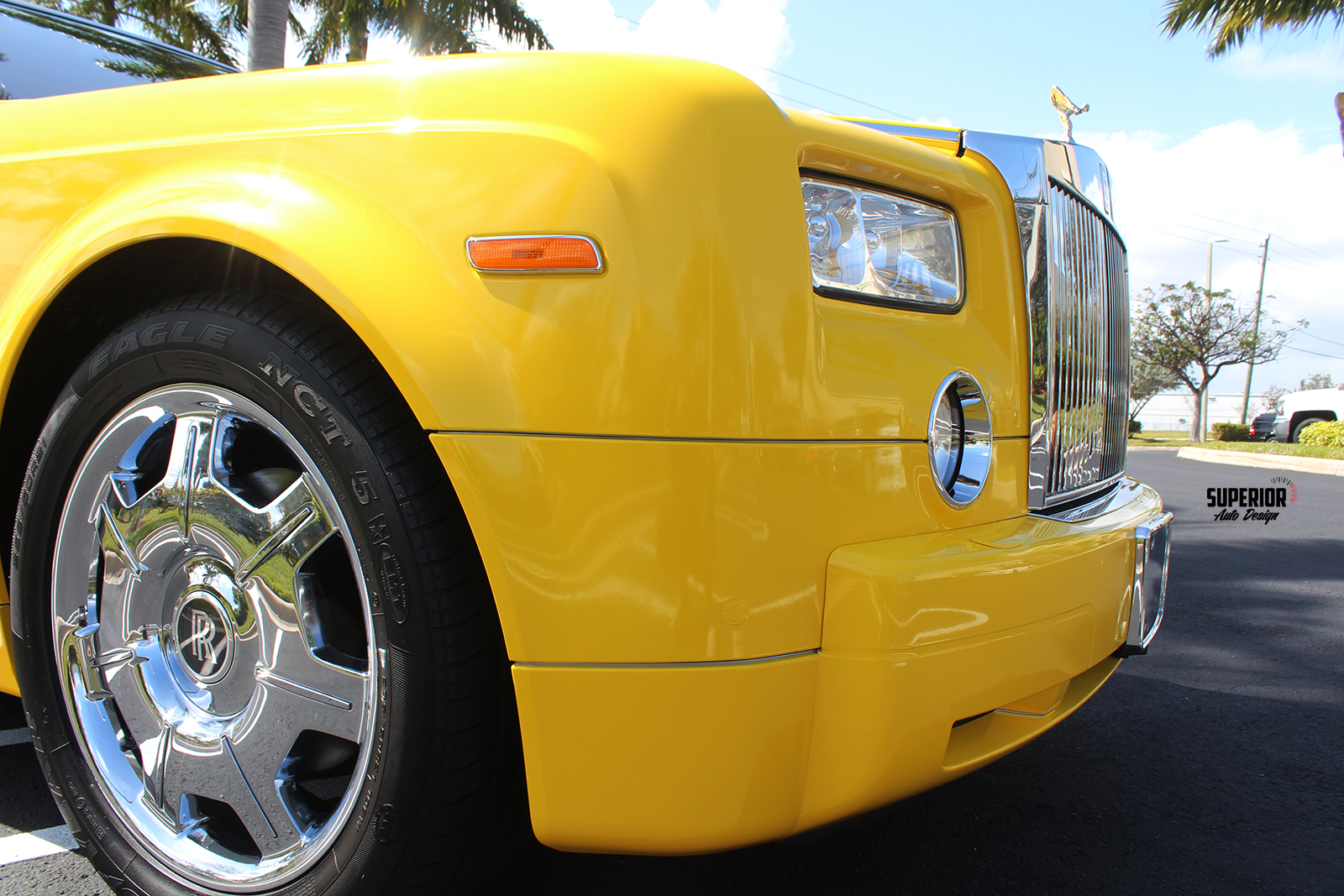 rolls royce phantom car wrap yellow superior auto design 7