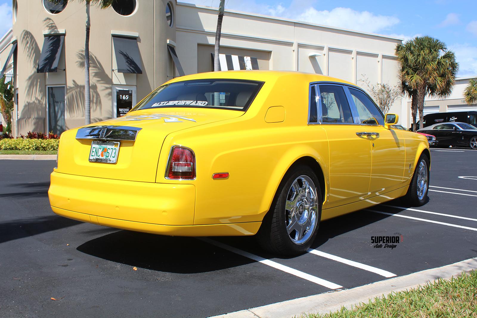 rolls royce phantom car wrap yellow superior auto design 8