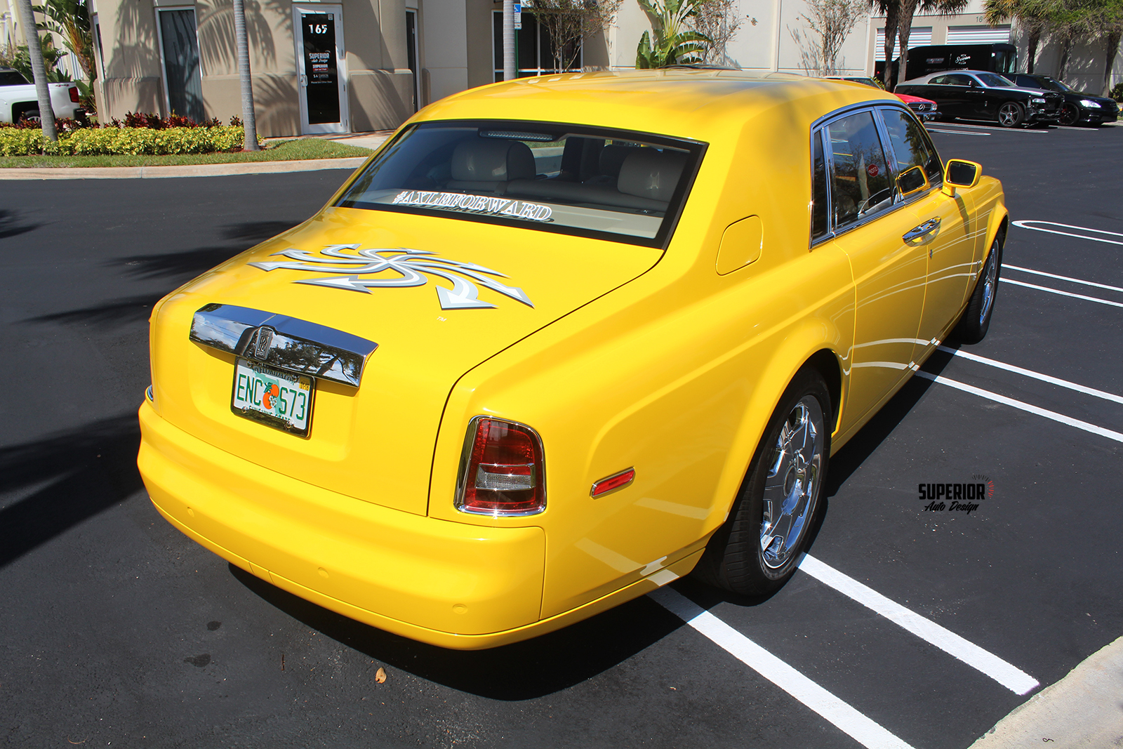 rolls royce phantom car wrap yellow superior auto design 9