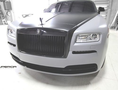 Rolls Royce Wraith getting a makeover with a Satin Battleship Gray wrap and custom calipers