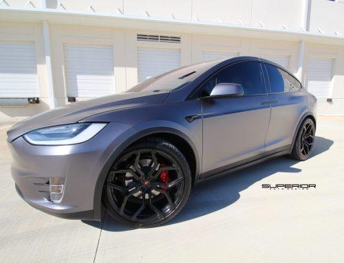Tesla Model X P100D Full 3M 1080 Satin Dark Gray, Custom Powder Coated Calipers and Vossen Wheels