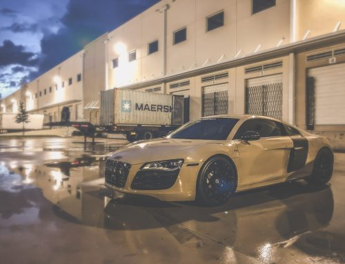 APA Gloss Sandstorm wrap on the Shop Gated 6-Speed Audi R8 Sitting on HRE Monoblocks